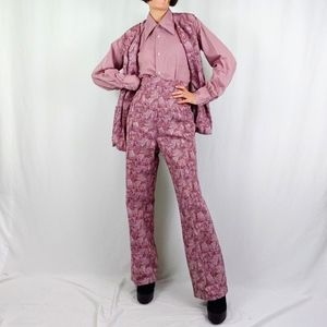 70's psychedelic purple patterned leisure set